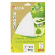 Pack of 280 recycled labels 48,5 x 18,5 mm Agipa 101246 white for laser and inkjet