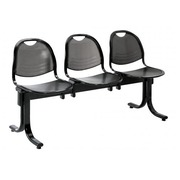 Vega 3 chairs on a beam width 150 cm - black metal
