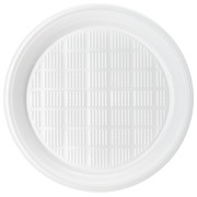 Disposable plate Ø 21.5 cm white plastic - Set of 100