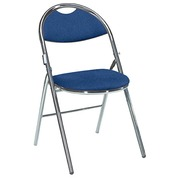 Foldable chair Super Comfort fabric non-flammable matchstick chromed undercarriage - blue