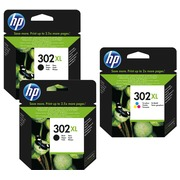 HP 302XL pack 2 cartridges high capacity black + cartridge high capacity colors for inkjet printer