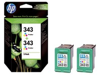 Pack van 2 cartridges HP 343 kleur