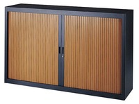 Low tambour cabinet wood with specific width 160 cm in anthracite - cherry tree
