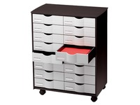 Mobile drawer cabinet 16 drawers black/grey